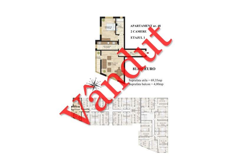 Apartamente 2 camere, 69 mp, Tip 1, Mihai Bravu Residence III