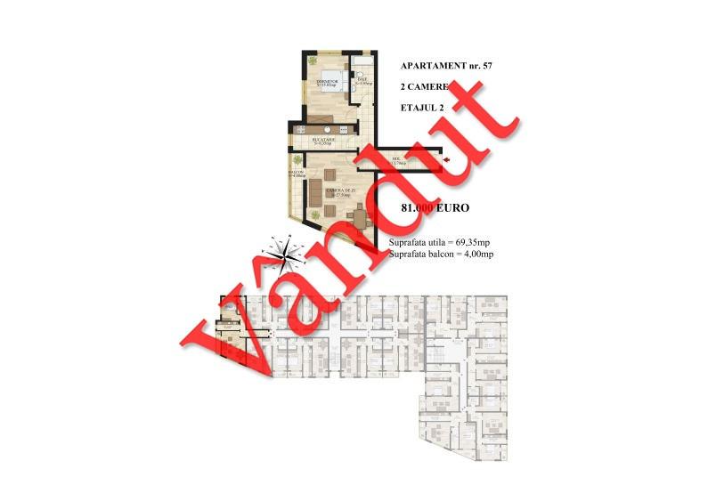 Apartamente 2 camere, 69 mp, Tip 1, etaj 2, Mihai Bravu Residence III