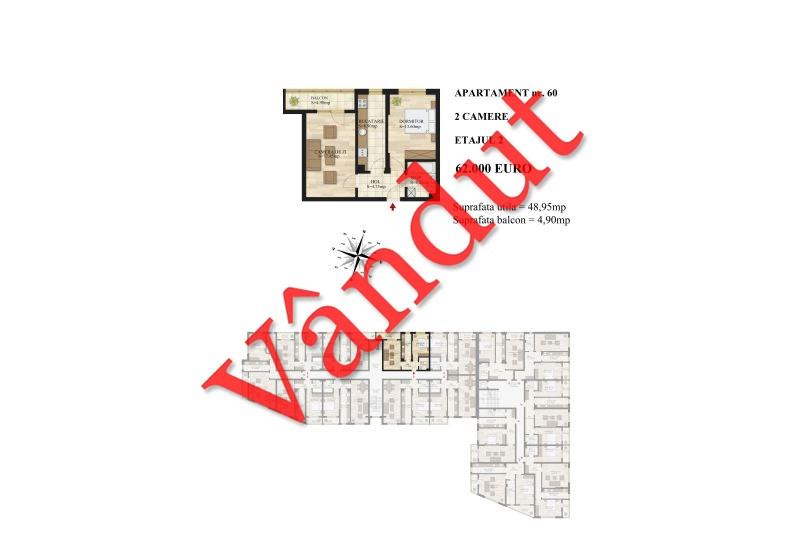 Apartamente 2 camere, 49 mp, Tip 1, etaj 2, Mihai Bravu Residence III