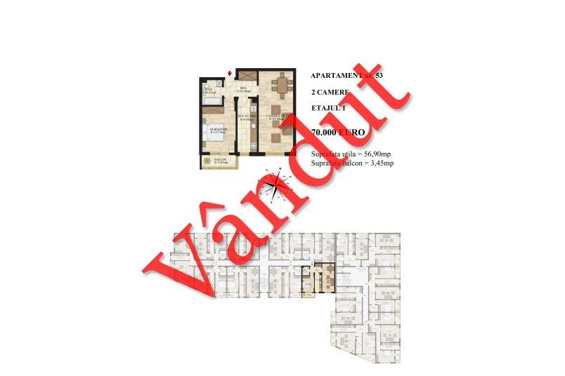 Apartamente 2 camere, 57 mp, etaj 2, Mihai Bravu Residence III