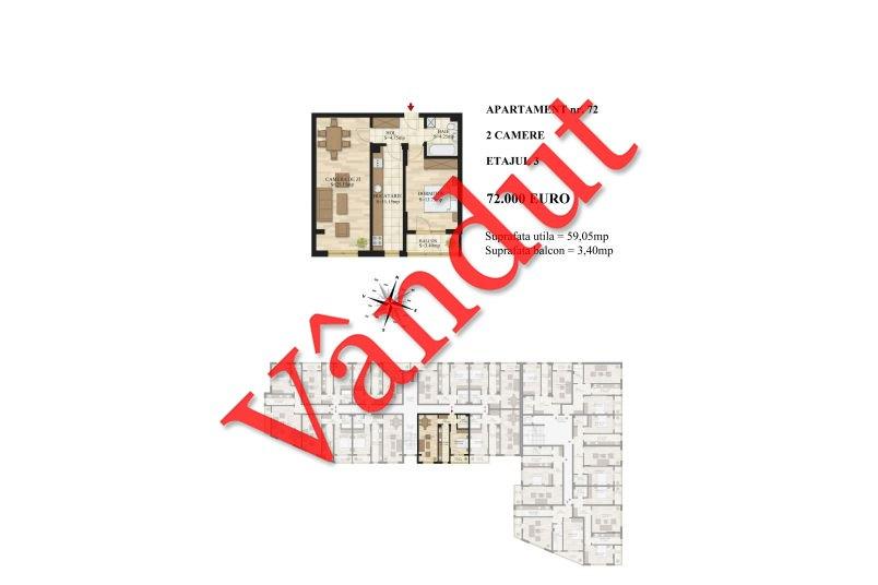 Apartamente 2 camere, 59 mp, Tip 2, etaj 3, Mihai Bravu Residence III