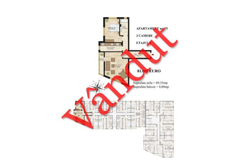 Apartamente 2 camere, 69 mp, Tip 1, etaj 4, Mihai Bravu Residence III