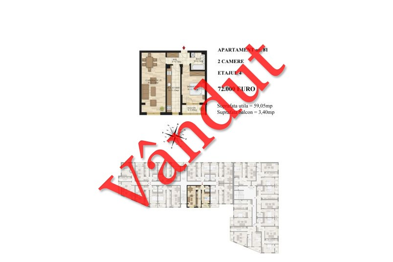Apartamente 2 camere, 59 mp, Tip 2, etaj 4, Mihai Bravu Residence III