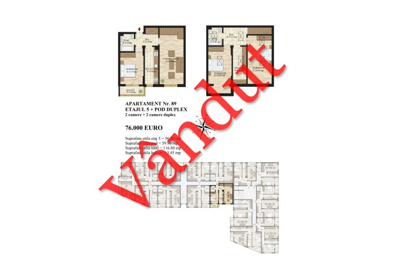 Duplex 4 camere, 117 mp, Mihai Bravu Residence III