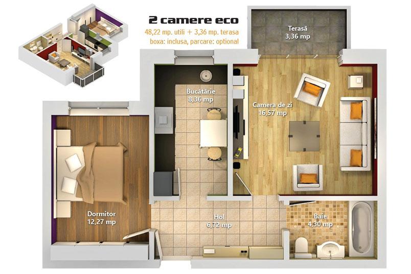 Apartamente 2 camere, 51 mp, Avantgarden 3