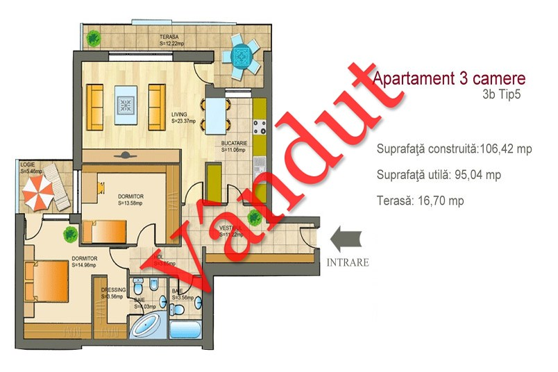 Apartamente 3 camere, 3B Tip 5, Metropolis Residence