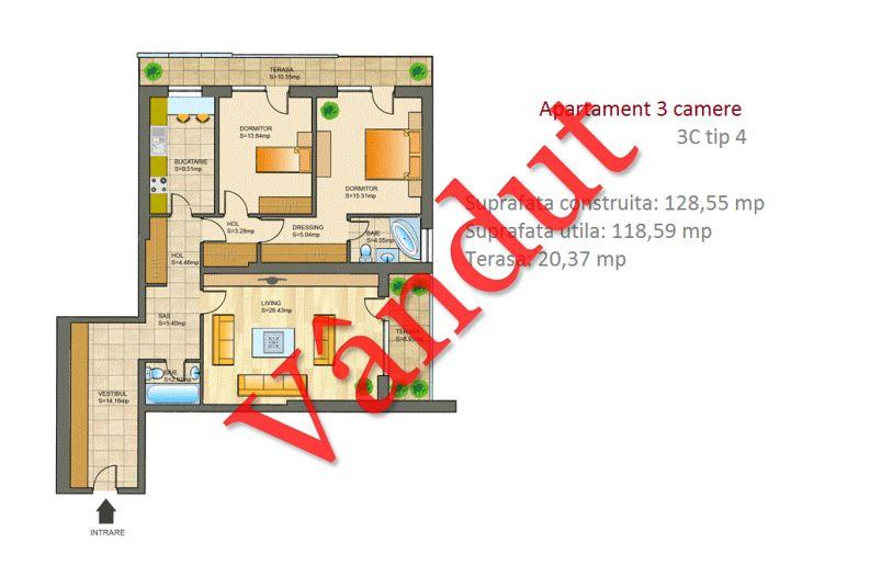 Apartamente 3 camere, 3C Tip 4, Metropolis Residence