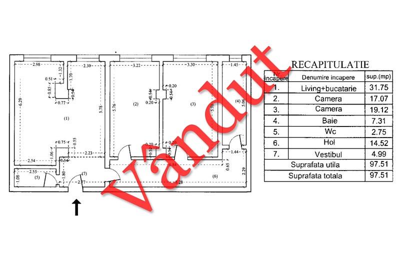 Apartamente 3 camere, 97 mp, Tip B 4, South City Residence