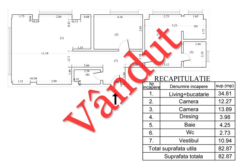 Apartamente 3 camere, 83 mp, Tip B 26, South City Residence