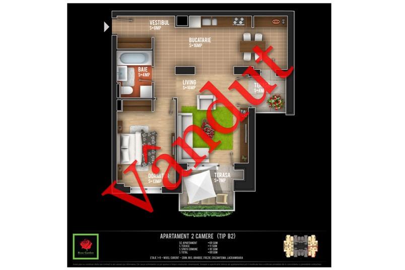 Apartamente 2 camere, Tip B2, Rose Garden
