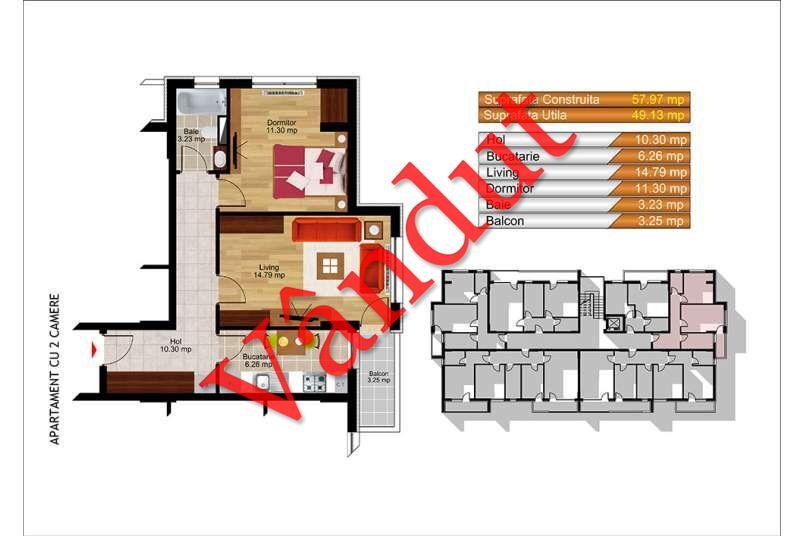 Apartamente 2 camere, 49 mp, Kristal Residence Berceni