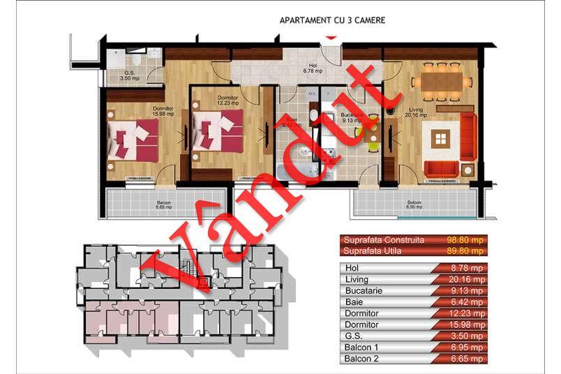 Apartamente 3 camere, 90 mp, Kristal Residence Berceni