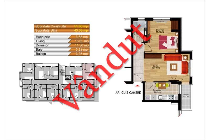 Apartamente 2 camere, 43 mp, Kristal Residence Berceni