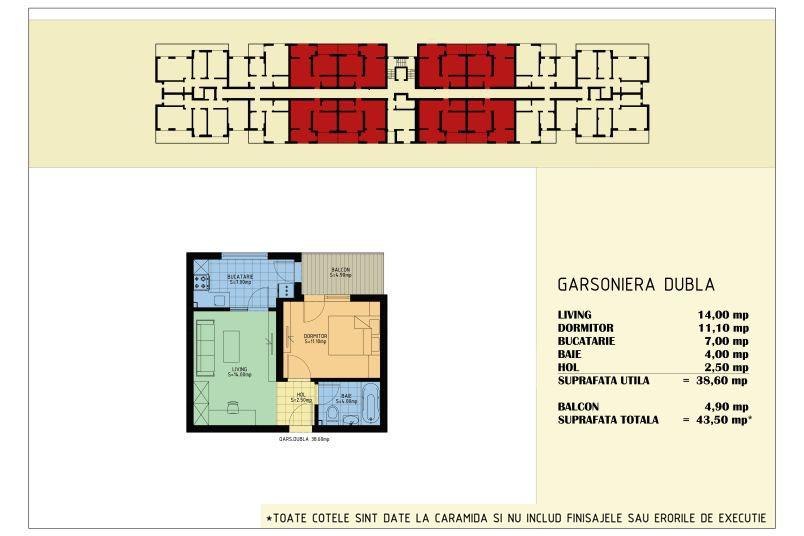 Apartamente 2 camere, 39 mp, Viva Residence 5