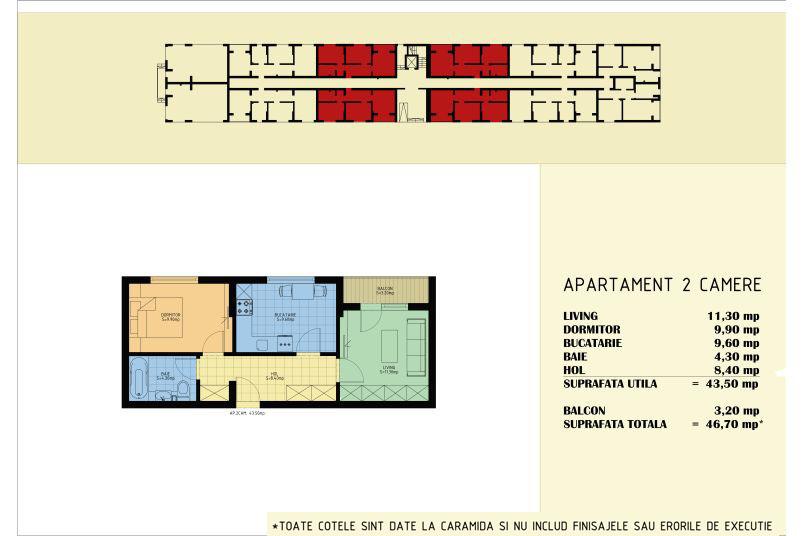 Apartamente 2 camere, 44 mp, Viva Residence 5