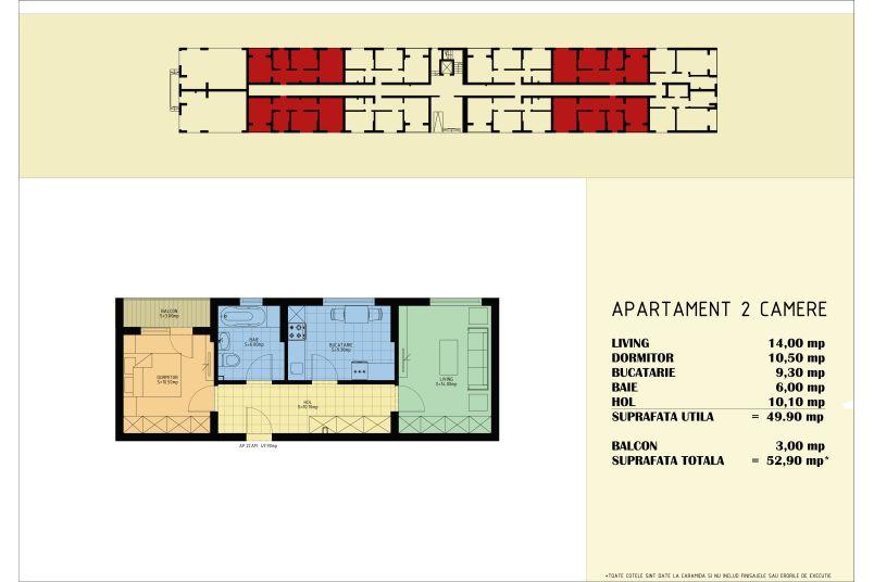 Apartamente 2 camere, 50 mp, Viva Residence 5