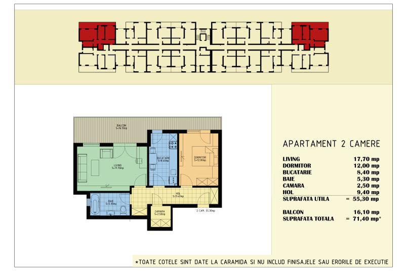 Apartamente 2 camere, 55 mp, Viva Residence 5