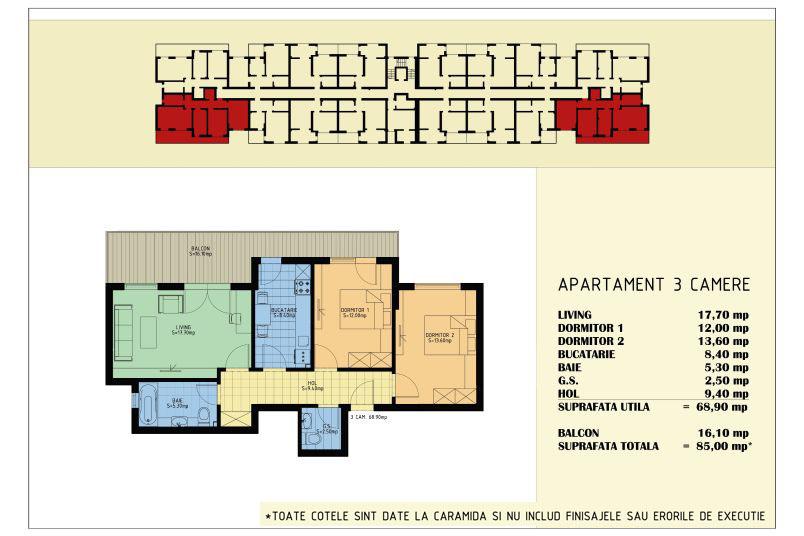 Apartamente 3 camere, 69 mp, Viva Residence 5