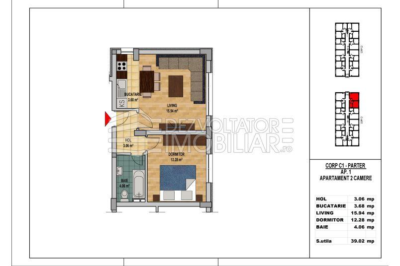 Apartamente 2 camere, 39 mp, My Home Residence Berceni