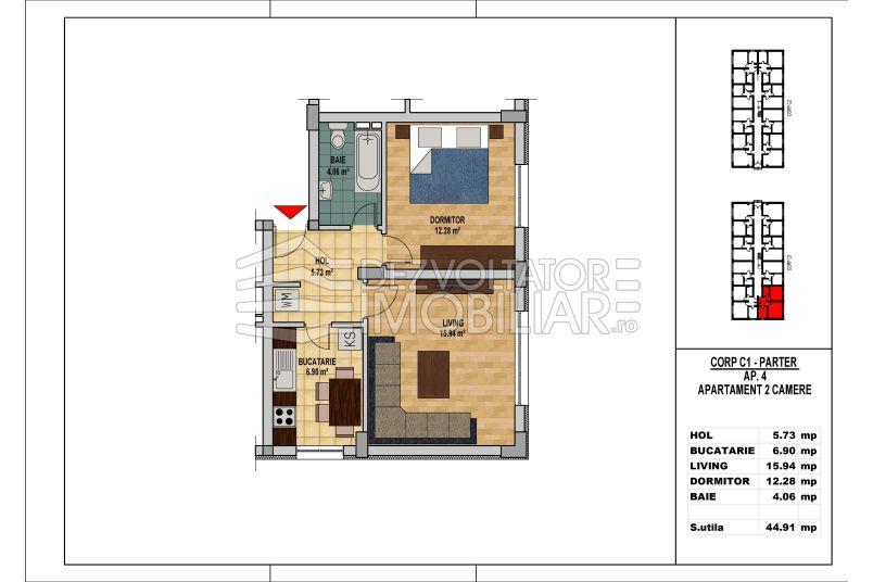 Apartamente 2 camere, 45 mp, My Home Residence Berceni