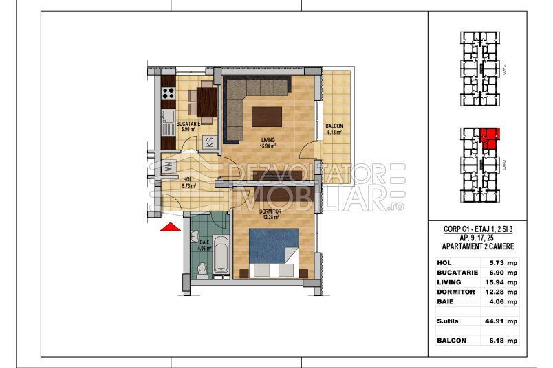 Apartamente 2 camere, 45 mp, Model 2, My Home Residence Berceni