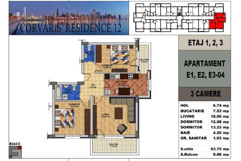 Apartamente 3 camere, 64 mp, Corvaris Residence 12