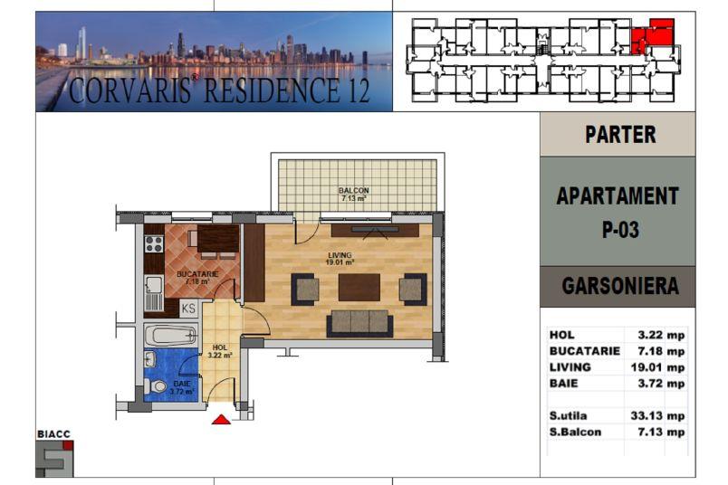 Garsoniere, 33 mp, Corvaris Residence 12