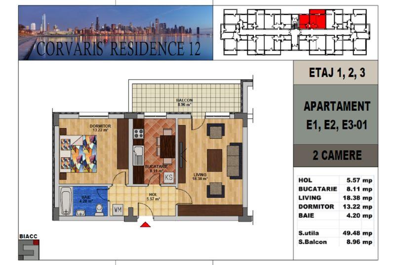 Apartamente 2 camere, 50 mp, Corvaris Residence 12