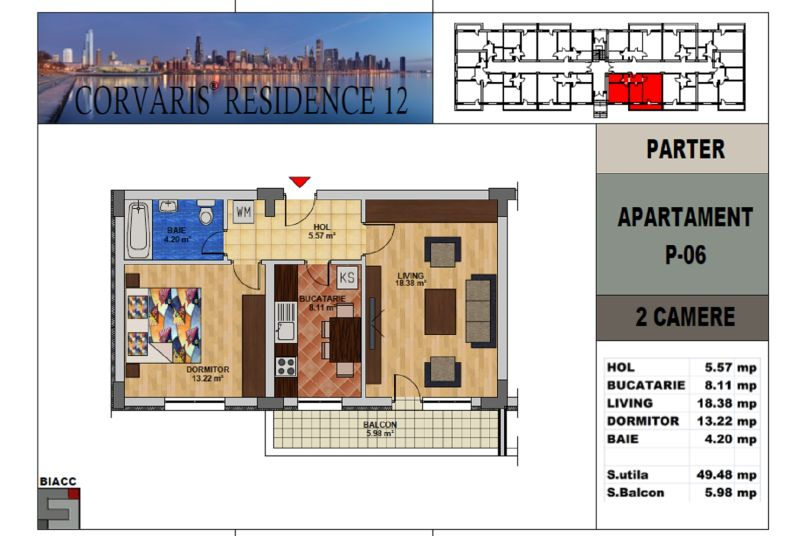 Apartamente 2 camere, 50 mp, Tip 2, Corvaris Residence 12