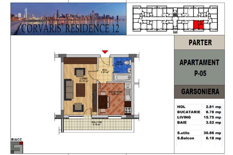 Garsoniere, 31 mp, Corvaris Residence 12