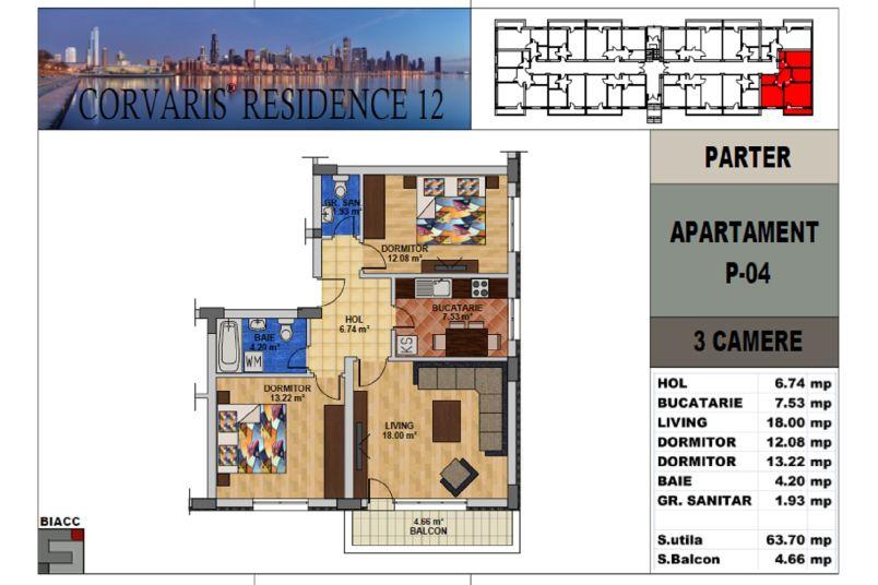 Apartamente 3 camere, 64 mp, Tip 2, Corvaris Residence 12