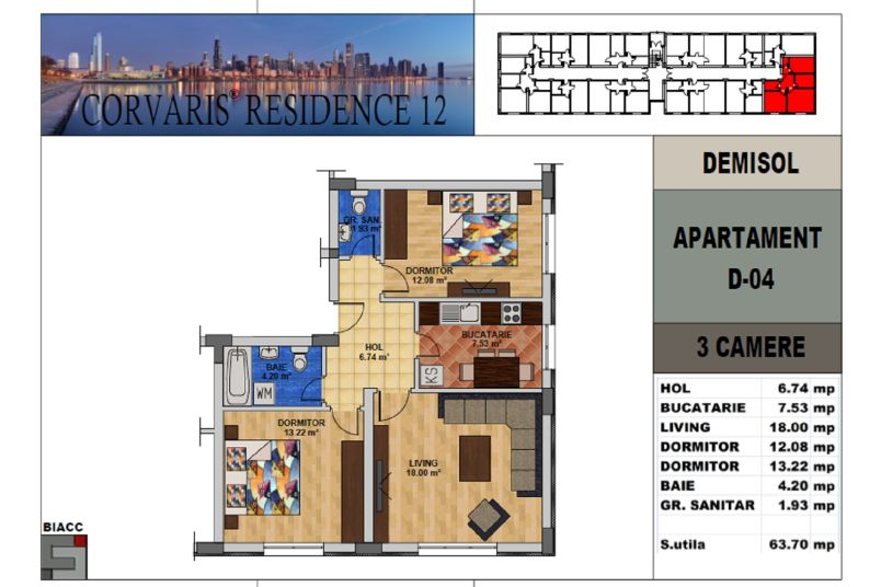 Apartamente 3 camere, 64 mp, Tip 3, Corvaris Residence 12