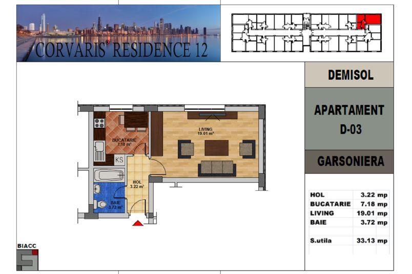 Garsoniere, 33 mp, Tip 2, Corvaris Residence 12