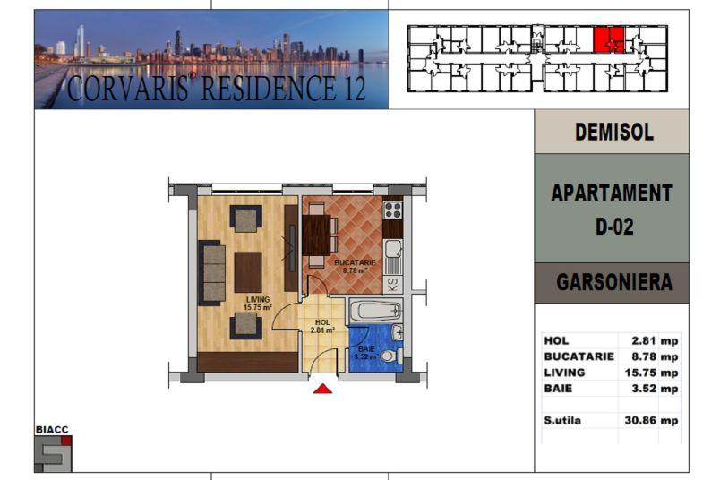 Garsoniere, 31 mp, Tip 2, Corvaris Residence 12