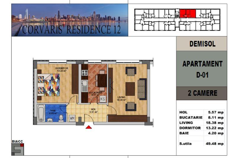 Apartamente 2 camere, 50 mp, Tip 3, Corvaris Residence 12