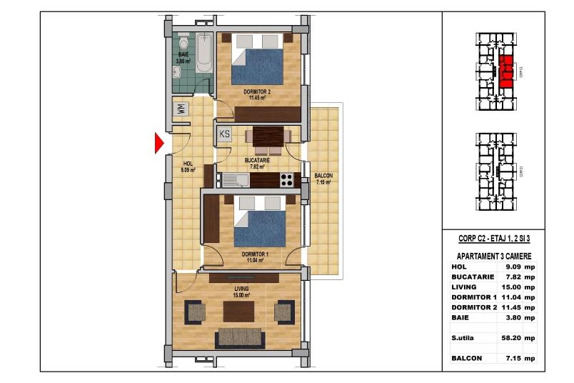 Apartamente 3 camere, 58 mp, My Home Residence Berceni