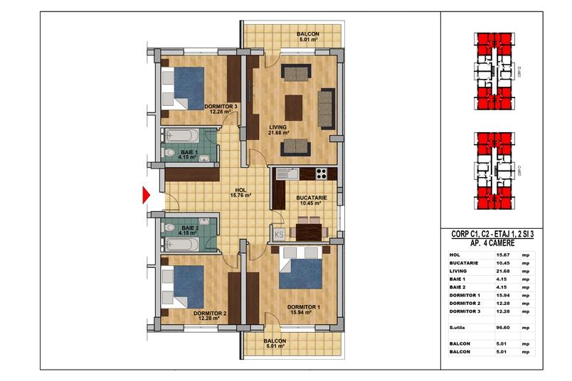 Apartamente 4 camere, 97 mp, My Home Residence Berceni