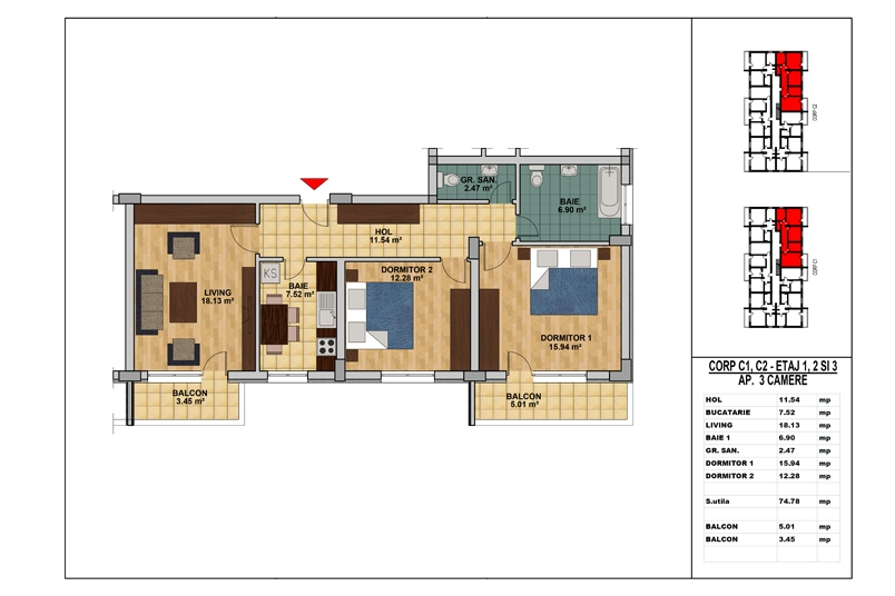 Apartamente 3 camere, 75 mp, My Home Residence Berceni