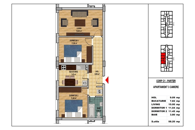 Apartamente 3 camere, 58 mp, Model 2, My Home Residence Berceni