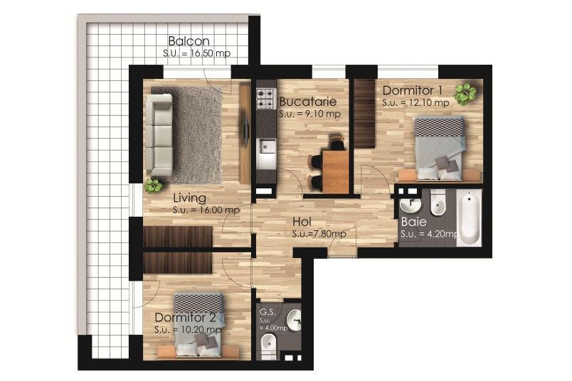 Apartamente 3 camere, 80 mp, Galaxy Residence Berceni 2