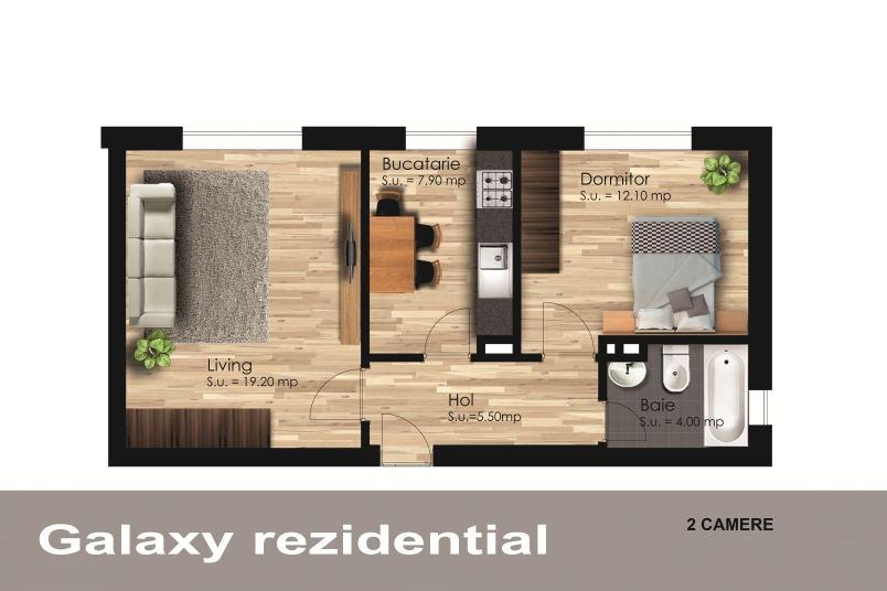 Apartamente 2 camere, 48 mp, Galaxy Residence Berceni 2