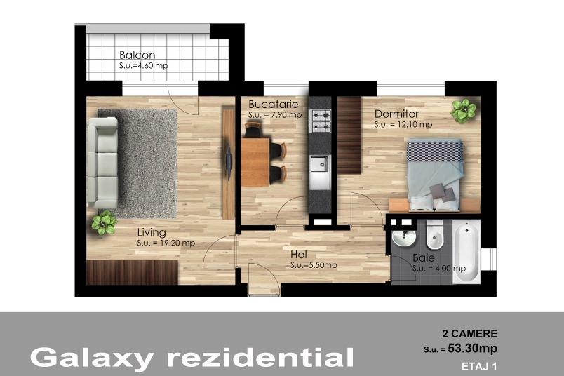 Apartamente 2 camere, 53 mp, Galaxy Residence Berceni 2