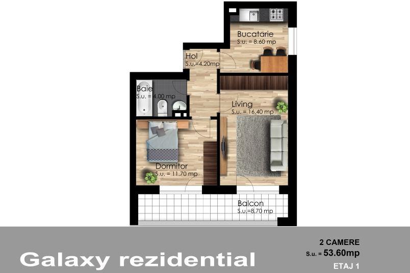 Apartamente 2 camere, 54 mp, Galaxy Residence Berceni 2