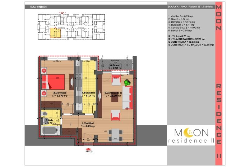 Apartamente 2 camere, 52 mp, Moon Residence 2