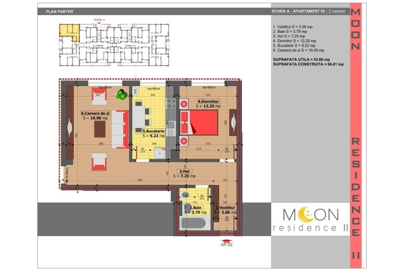Apartamente 2 camere, 54 mp, Moon Residence 2