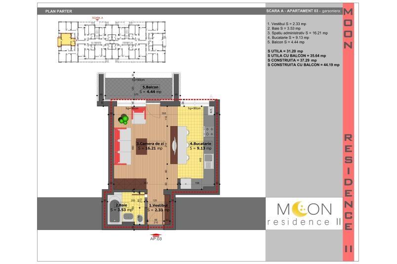 Garsoniere, 36 mp, Moon Residence 2