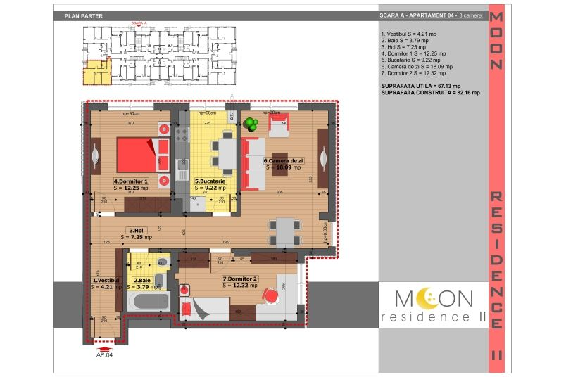 Apartamente 3 camere, 67 mp, Moon Residence 2