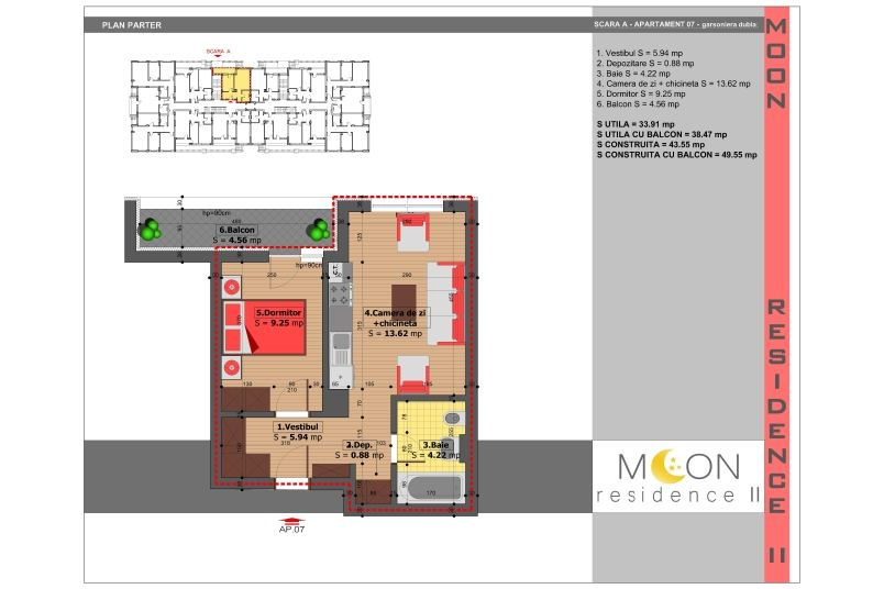 Apartamente 2 camere, 39 mp, Moon Residence 2