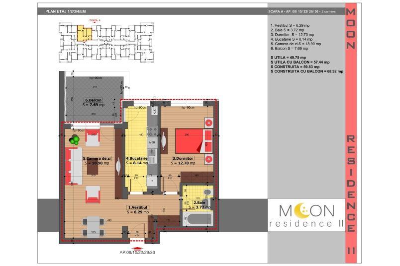 Apartamente 2 camere, 58 mp, Moon Residence 2