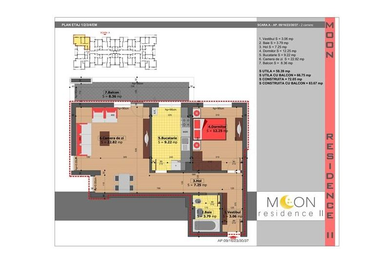 Apartamente 2 camere, 67 mp, Moon Residence 2